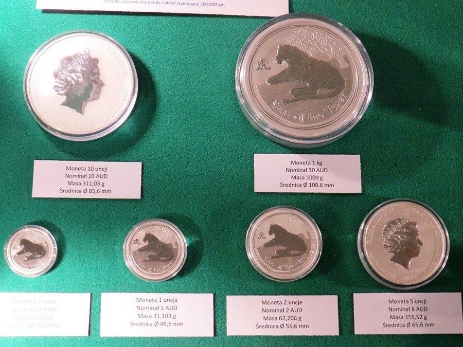 Monety bulionowe z australijskiej mennicy w Perth