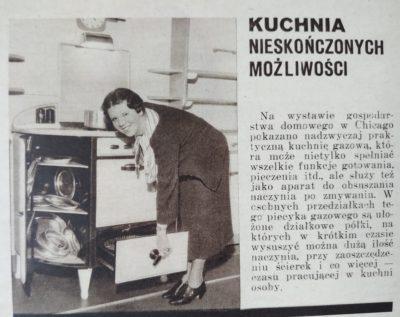 """Przedwojenna kuchnia gazowa. Źródło: Tygodnik """"As"""" nr 6 z 9 lutego 1936 roku"""