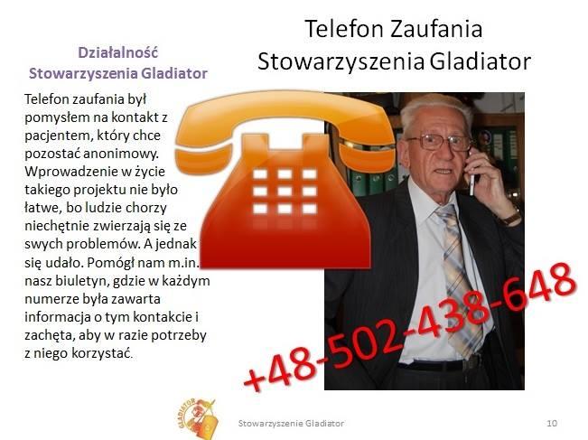Telefon Zaufania Stowarzyszenia Gladiator