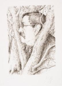 Gunter Grass - Samotny w lesie - litografia