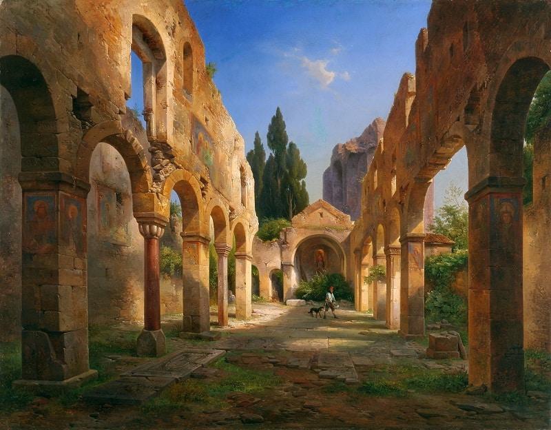 Fot. Albert Emil Kirchner, Bazylika w Castello San Pietro w Weronie, 1845