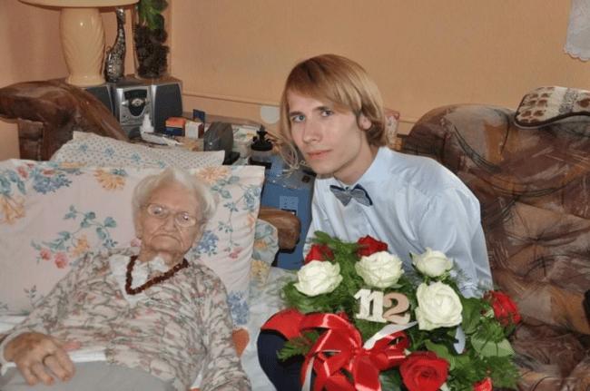 fot. Wacław Kroczek w 112 urodziny pani Tekli (czerwiec 2018).