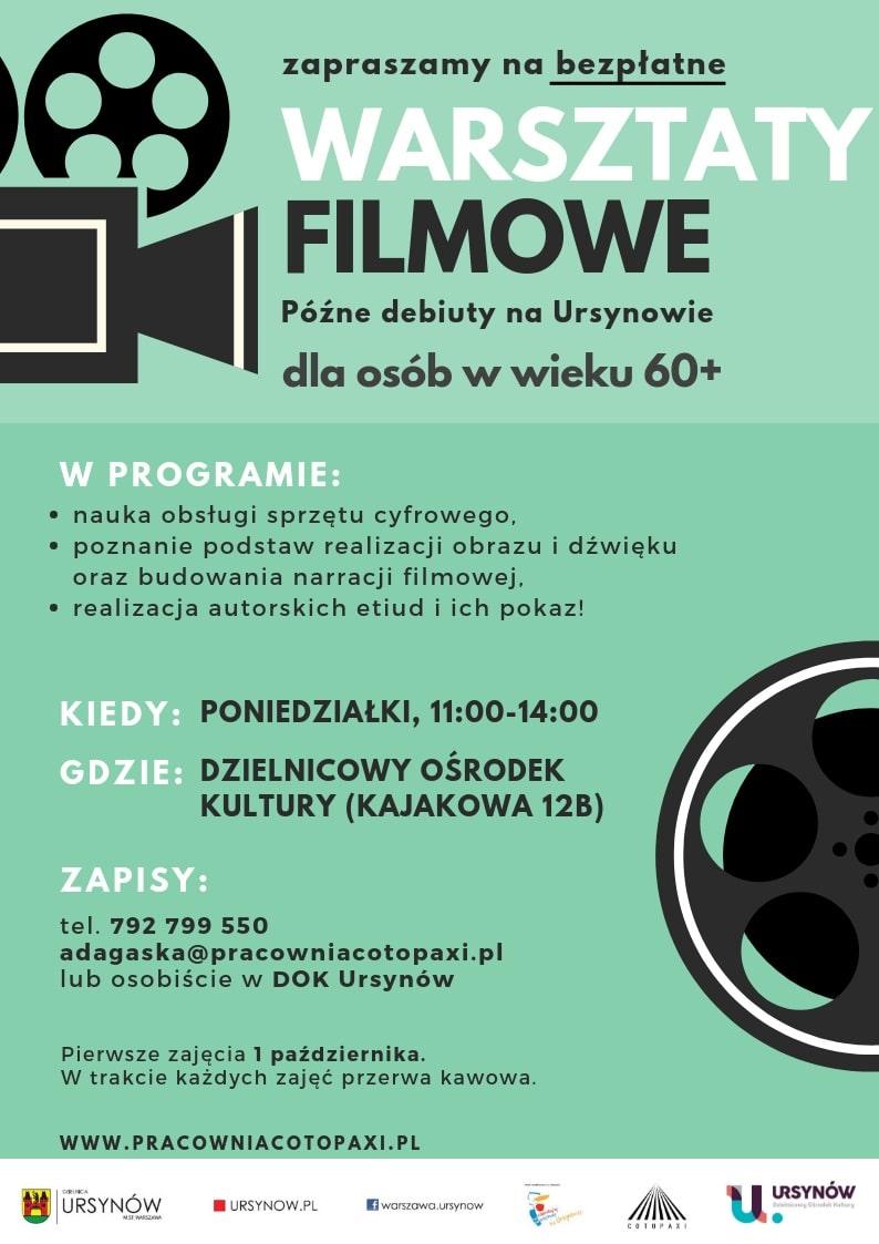 Bezpłatne warsztaty filmowe dla seniorów - plakat informacyjny