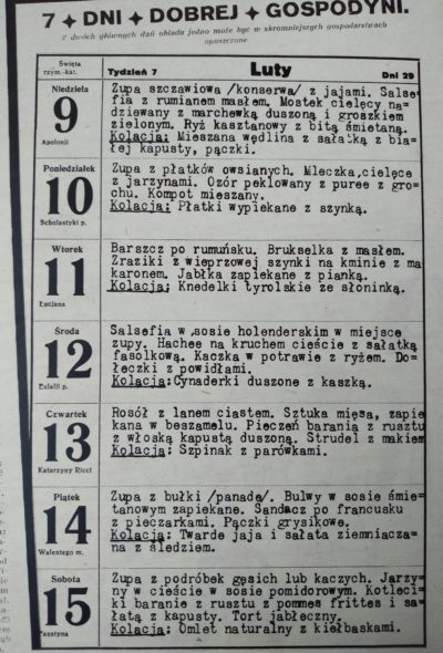 """Przedwojenny jadłospis. Źródło: Tygodnik """"As"""" nr 6 z 9 lutego 1936 roku"""