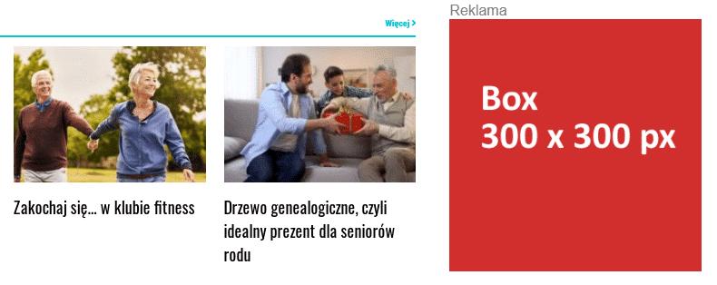 Baner reklamowy typu Box 300 x 300 px na portalu GazetaSenior_pl
