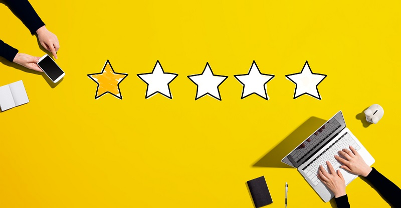 One star rating with people working together