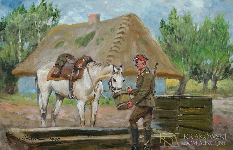 """Jerzy Kossak, """"Ułan pojący konia"""" (1940), fot. Krakowski Dom Aukcyjny"""